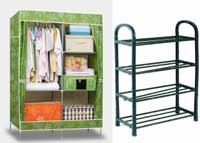 Foldable Wardrode & Shoe Rack Combo