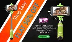 Cezzar Fashion Green Monopod Pocket Selfie Stick