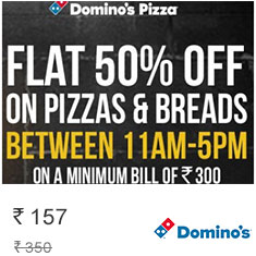 Dominos Pizza Flat 50% off on Transaction of Rs. 300 + 20% Extra Mobikwik Cashback Get it Now