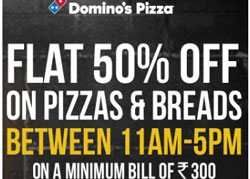 Dominos Pizza Flat 50% off on Transaction of Rs. 300 + 20% Extra Mobikwik Cashback