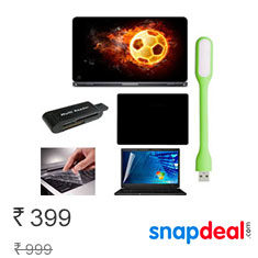 Finest 6 In 1 Laptop Skin With Screen Guard, Key Guard, Led USB Light, Card Reader And Mouse Pad