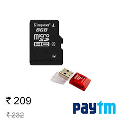 Kingston MicroSD 8 GB Class 4 Memory Card + Free MicroSD Card Reader Affordable Price