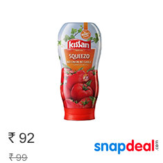 Kissan Squeezo No Onion No Garlic Tomato Sauce 450 g at 7% Off Buy Now
