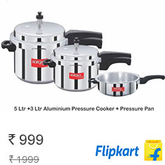 SuryaAccent Cook Pal Pressure Cooker Pack of (5L, 3L, 2L) at 50% Off Buy Now