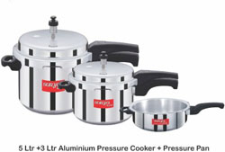 SuryaAccent Cook Pal Pressure Cooker Pack of (5L, 3L, 2L) at 50% Off