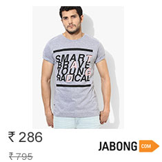 Tagd New York Grey Milange Printed Round Neck T-Shirts at 60% Off Buy Now