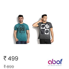 Branded T-Shirts Upto 60% Off + 250rs Extra Off on 1095rs Buy Now