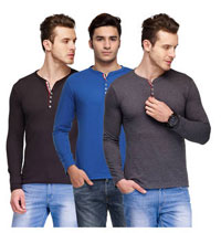 TSX Multi Colour Cotton Pack Of 3 T-Shirts at 55% Off + Extra Cashback