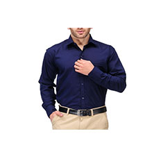 Formals by Koolpals-Cotton Blend Shirt Navy Blue Solid Offer