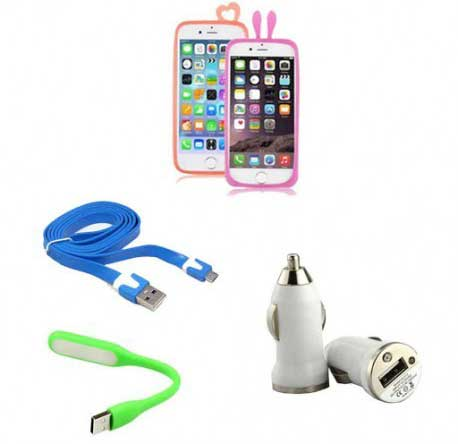 Get USB Charger, LED Light, Data Cable, Universal Bumper Frame at Rs. 109