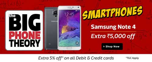 Flipkart Big Phone Theory Sale Samsung Note 4 at Extra Rs. 5000 Off
