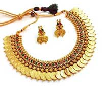 La Amber Temple Coin Necklace Earring Set For Women