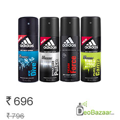 Adidas Assorted Pack of 4 Deodorants for Men at 13% Off + 100 rs extra Off Buy Now