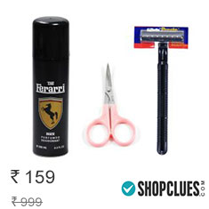 Combo of Deo + Scissor + Razor at 82% Discount + 2% Cashback Affordable Price