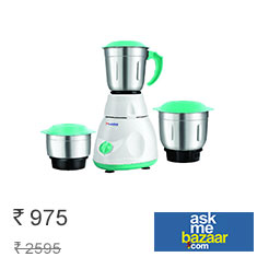 Lazer Allure 500 W Mixer Grinder White Green at 53% Off Buy Now