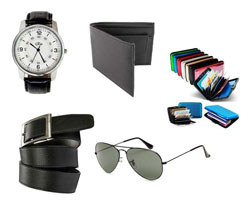 Rio Combo of Wallet, Belt, Wrist Watch, Sunglasses and Plastic Card Holder