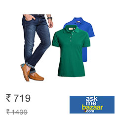 Combo Of Firk Mens Jeans & 2 Solid T-Shirts at Flat 47% Off + 10% Cashback Buy Now
