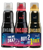 Engage Deo Sprays Frost and Rush With Fuzz Free Pack Of 3