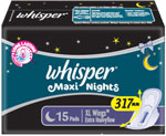 Whisper Maxi Nights XL Wings 15 Pads Pack Of 2