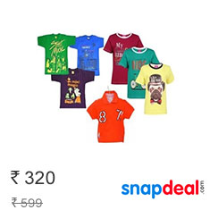 Kids Branded T-Shirts at Upto 90% Off Starting at Rs 299