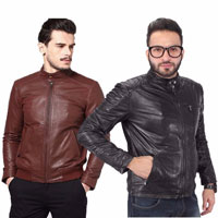 Wrab Mens Full Sleeve Faux Leather Jacket