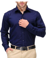 Formals by Koolpals-Cotton Blend Shirt Navy Blue Solid