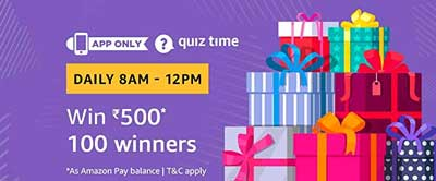 Amazon Quiz to Win Rs. 500 Today