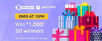 Amazon QuizTime Answers to Win Rs. 1,000