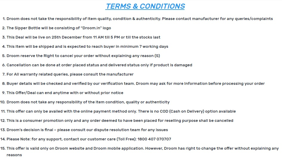 Droom Sipper Sale Terms & Conditions Screenshot