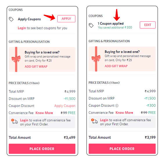 Apply Coupon Code on Myntra during Checkout